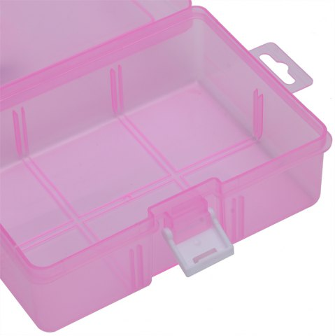 Outfits Transparent Plastic Jewelry Bead Cosmetics Storage Box - PINK  Mobile