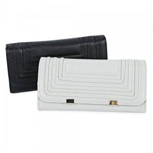 Snap Button Checkbook Wallet with Card Slot - BLACK