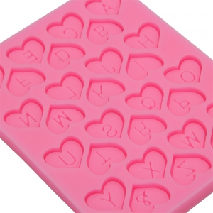 Love Heart Alphabet Letter Silicone Fondant Cake Decoration Mold - PINK