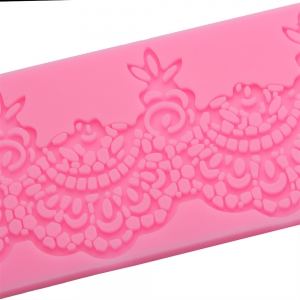Lace Flower Silicone Fondant Cake Rim Decoration Mold - PINK