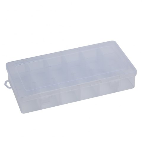 Outfit Detachable 18 Compartments Transparent Plastic Jewelry Bead Storage Box