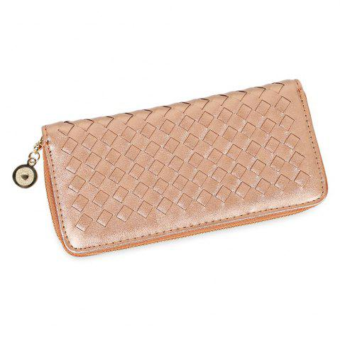 Sale Women Hand-woven Cross Design Chain Long Section Handbag Card Wallet Purse GOLDEN