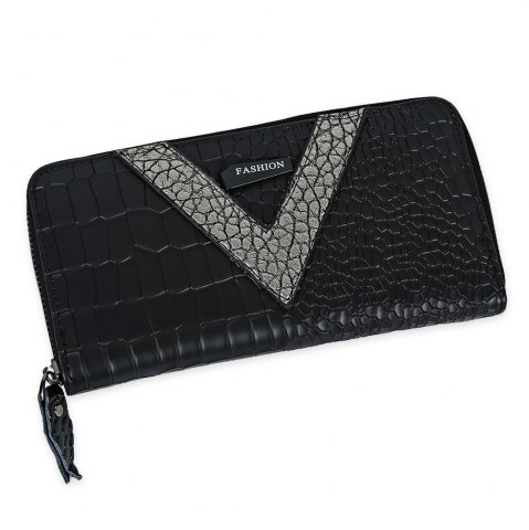Cheap Faux Leather Zip Around Crocodie Wallet