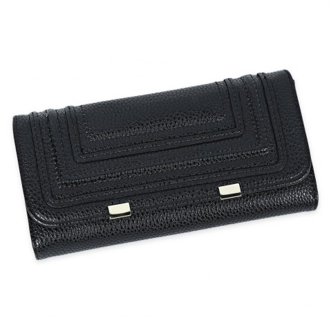 Shop Snap Button Checkbook Wallet with Card Slot BLACK