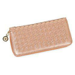 Women Hand-woven Cross Design Chain Long Section Handbag Card Wallet Purse - GOLDEN