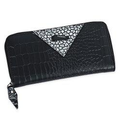 Zip Around Long Crocodile Wallet - SILVER