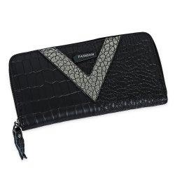 Faux Leather Zip Around Crocodie Wallet - GOLDEN