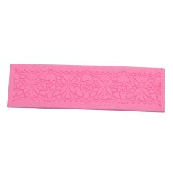DIY Silicone Flower Cake Fondant Embossed Border Trim Decorating Mold Tool - PINK