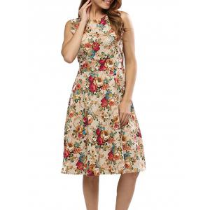 Floral Bowtie Midi Fit and Flare Dress -