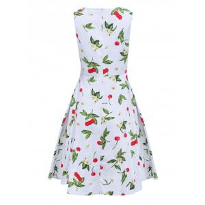 Sweet Round Collar Sleeveless Back Zipper Bowtie Lace-up Patchwork Cherry Print Mid-calf Women A-line Dress -