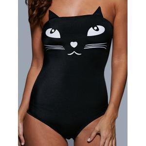 Tube Top Cat Pattern Wire Free Cute One Piece Swimsuits - BLACK S