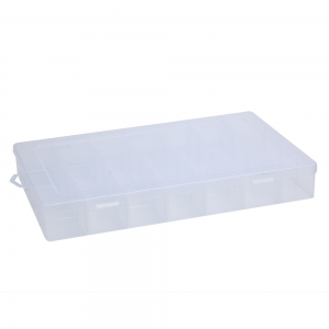 Detachable 28 Compartments Transparent Plastic Jewelry Bead Storage Box - Transparent
