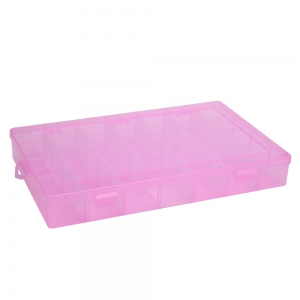 Detachable 28 Compartments Transparent Plastic Jewelry Bead Storage Box - Pink