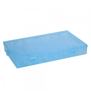 Detachable 28 Compartments Transparent Plastic Jewelry Bead Storage Box - Blue