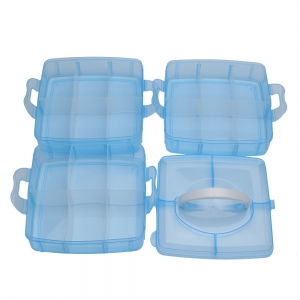 Creative Three Layers Removable Plastic Jewelry Bead Cosmetics Storage Box - BLUE