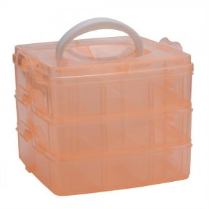 Creative Three Layers Removable Plastic Jewelry Bead Cosmetics Storage Box - Orange