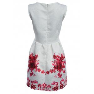 Vintage Round Collar Sleeveless Floral Print A-Line Women Mini Dress - RED XL