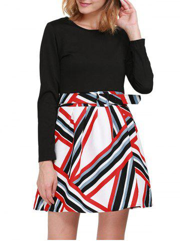 Stylish Round Collar Long Sleeve Color Block Zipper Type Women Dress with Belt - WHITE/BLACK M