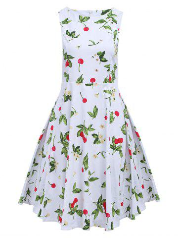 Sale Sweet Round Collar Sleeveless Back Zipper Bowtie Lace-up Patchwork Cherry Print Mid-calf Women A-line Dress