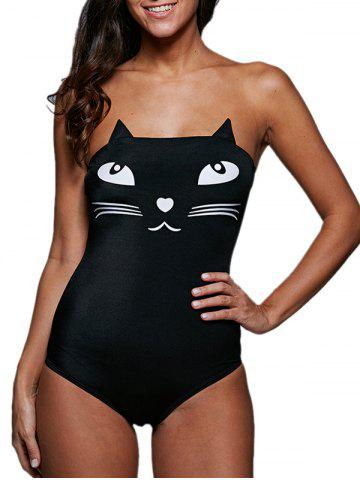 Tube Top Cat Pattern Wire Free Cute One Piece Swimsuits - Black - Xl