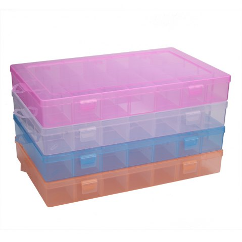 Chic Detachable 28 Compartments Transparent Plastic Jewelry Bead Storage Box - PINK  Mobile