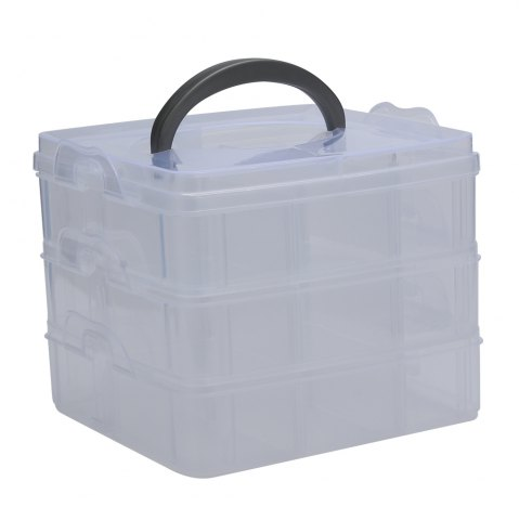 Outfits Creative Three Layers Removable Plastic Jewelry Bead Cosmetics Storage Box TRANSPARENT