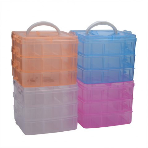 New Creative Three Layers Removable Plastic Jewelry Bead Cosmetics Storage Box - TRANSPARENT  Mobile