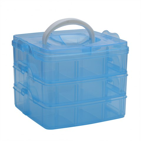 Trendy Creative Three Layers Removable Plastic Jewelry Bead Cosmetics Storage Box BLUE