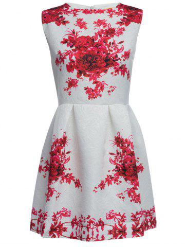 Unique Vintage Round Collar Sleeveless Floral Print A-Line Women Mini Dress RED XL