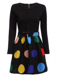 Stylish Round Collar Long Sleeve Color Block Zipper Type Women Dress with Belt - BLACK