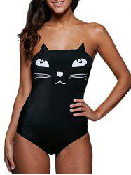Tube Top Cat Pattern Wire Free Cute One-Piece Swimsuits -