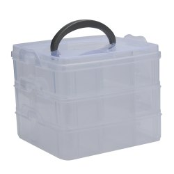 Creative Three Layers Removable Plastic Jewelry Bead Cosmetics Storage Box - TRANSPARENT
