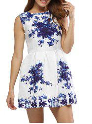Vintage Round Collar Sleeveless Floral Print A-Line Women Mini Dress