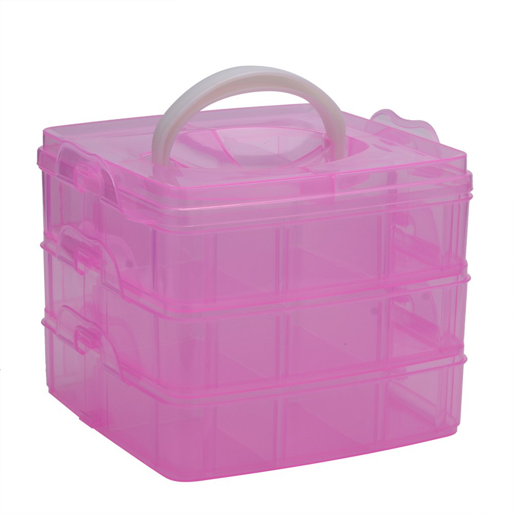 Creative Three Layers Removable Plastic Jewelry Bead Cosmetics Storage BoxHOME<br><br>Color: PINK; Frame material: Plastic;