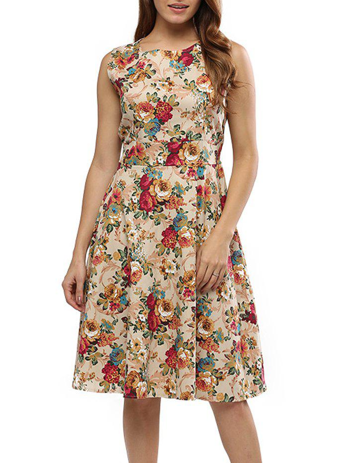 Trendy Floral Bowtie Midi Fit and Flare Dress