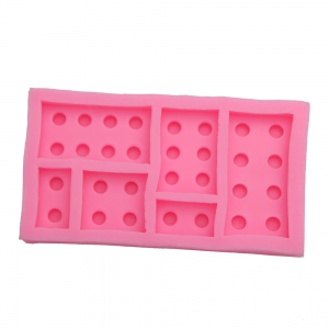 DIY Building Block Plate Pattern Cake Fondant Baking Mould - Pink - W24 Inch * L71 Inch