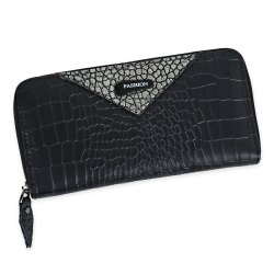 Zip Around Long Crocodile Wallet - GOLDEN