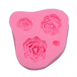 Rose Pattern Cake Fondant Baking Tool Dessert Decorating Mold - PINK