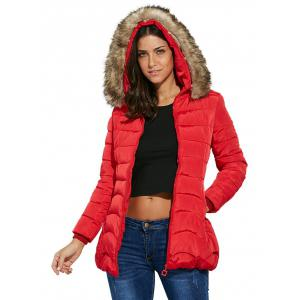 Chic Hooded Faux Fur Chunky Women Down Coat -