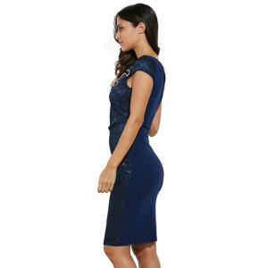 Round Collar Floral Embroidery Bandage Sheath Dress -