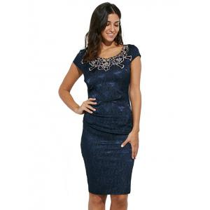 Round Collar Floral Embroidery Bandage Sheath Dress - PURPLISH BLUE XL