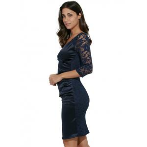 Midi Bodycon Dress With Lace Sleeves - PURPLISH BLUE M