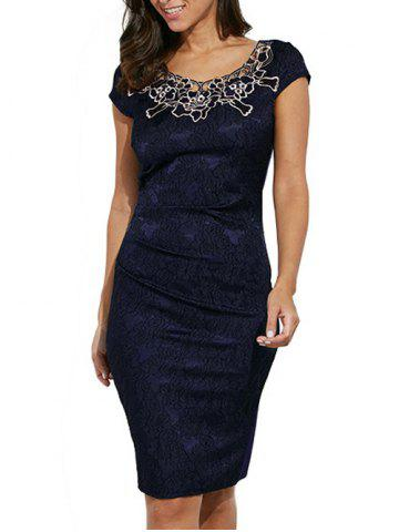 Unique Round Collar Floral Embroidery Bandage Sheath Dress - L PURPLISH BLUE Mobile