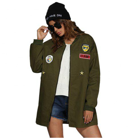 Shops Trendy Stand Collar Badge Patch Women Coat ARMY GREEN L