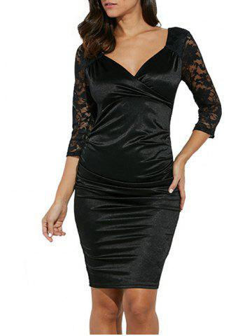 Midi Bodycon Dress With Lace Sleeves - Black - 2xl