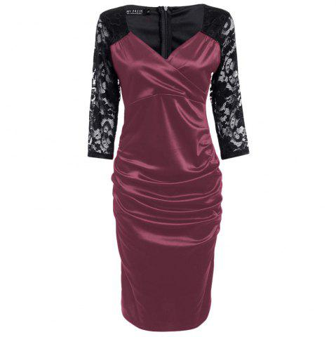 Fancy Midi Bodycon Dress With Lace Sleeves - XL RED Mobile