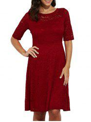 Elegant Round Collar Lace A-Line Women Midi Dress - DEEP RED
