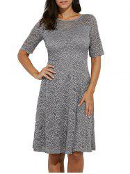 Elegant Round Collar Lace A-Line Women Midi Dress - LIGHT GRAY