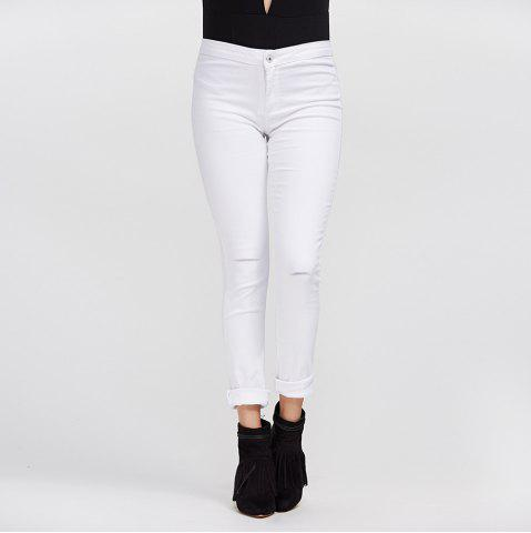 Latest Chic Mid Waist Pure Color Skinny Women Jeans