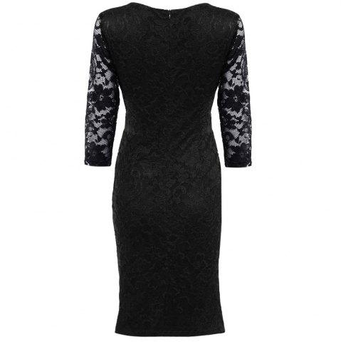Store Midi Bodycon Dress With Lace Sleeves - XL RED Mobile